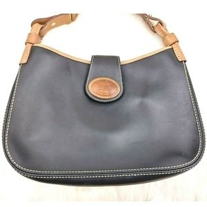Dooney & Bourke  Black Leather Brown Trim Hobo Bag